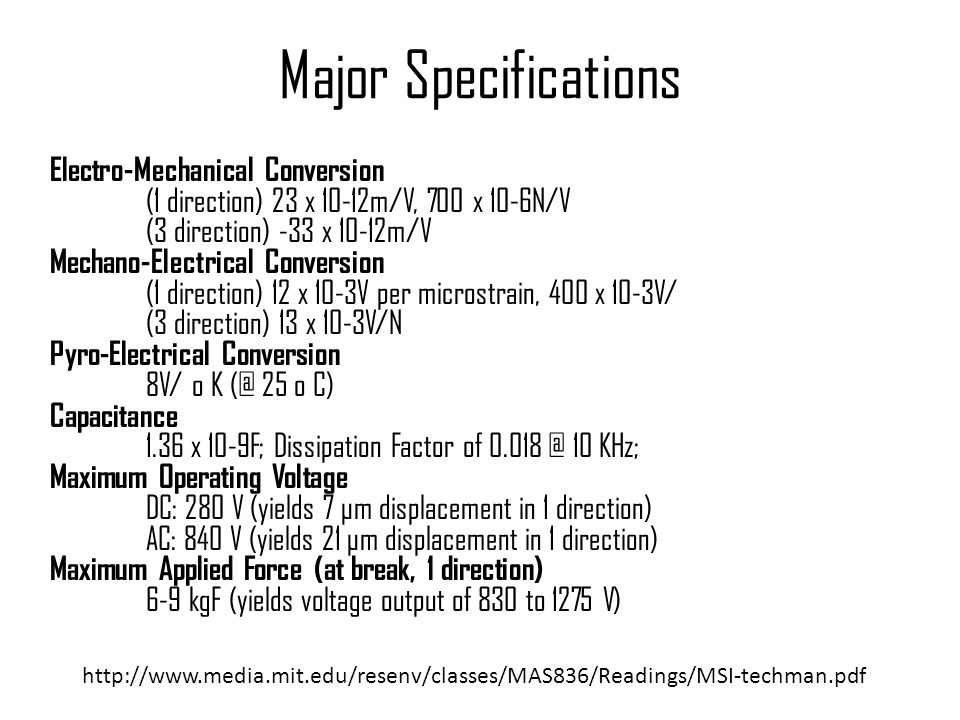Major Specifications Electro-Mechanical Conversion