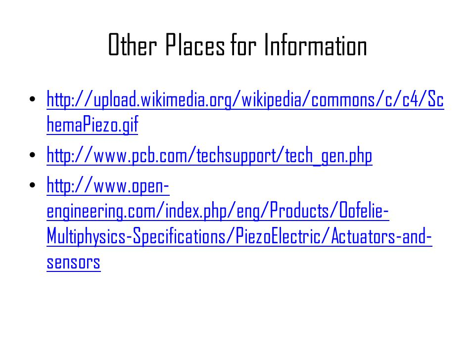 Other Places for Information