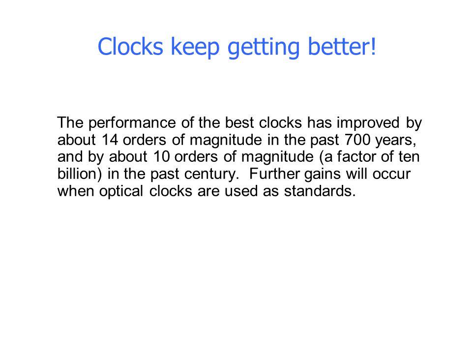 Clocks keep getting better!