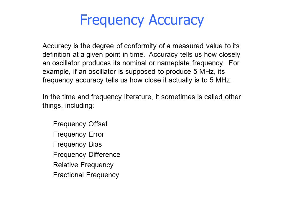 Frequency Accuracy