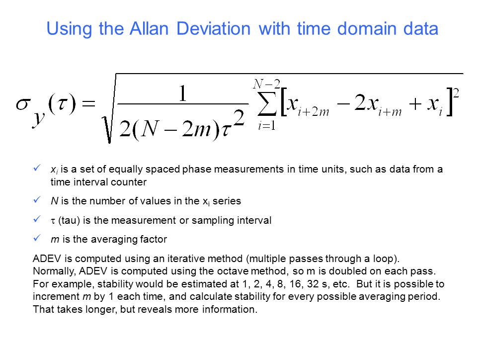 Using the Allan Deviation with time domain data