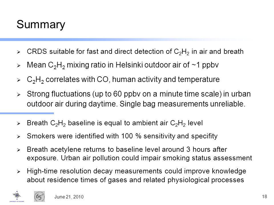 Summary Mean C2H2 mixing ratio in Helsinki outdoor air of ~1 ppbv