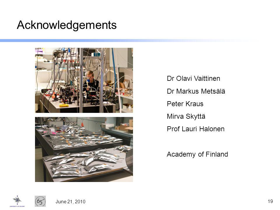 Acknowledgements Dr Olavi Vaittinen Dr Markus Metsälä Peter Kraus