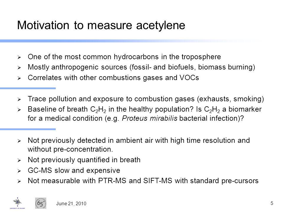 Motivation to measure acetylene