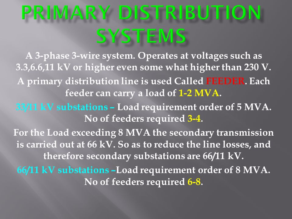 Primary distribution systems