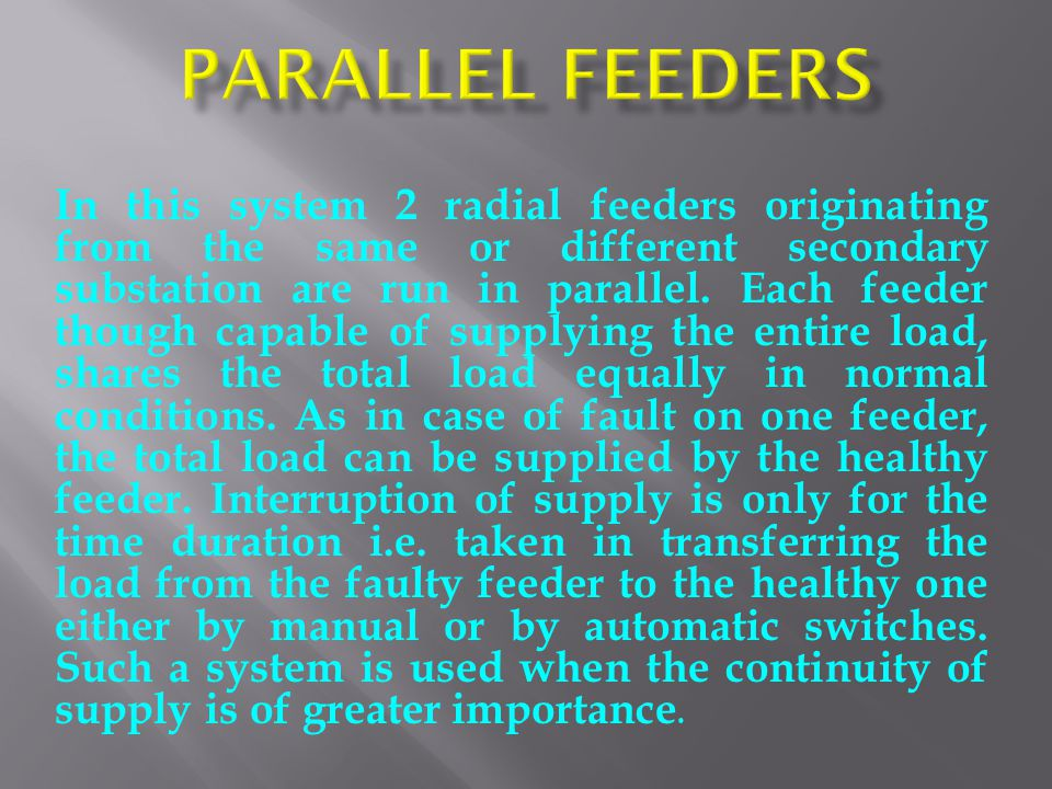 Parallel Feeders