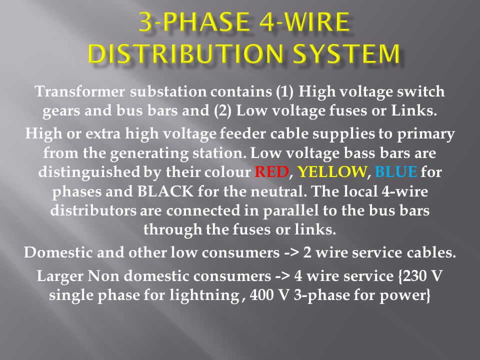 3-Phase 4-Wire distribution system