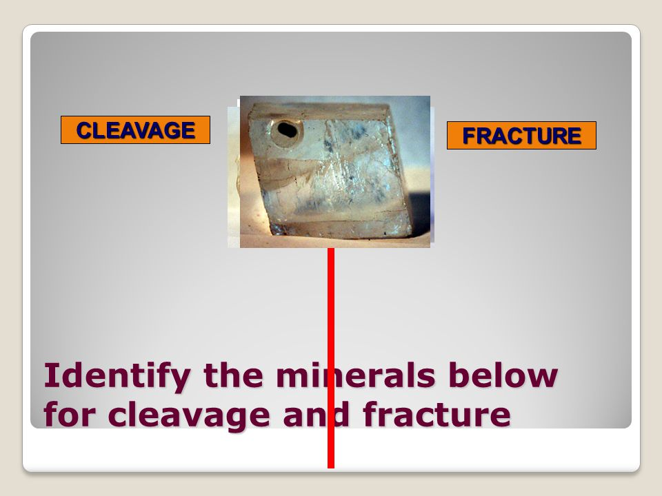 Identify the minerals below for cleavage and fracture
