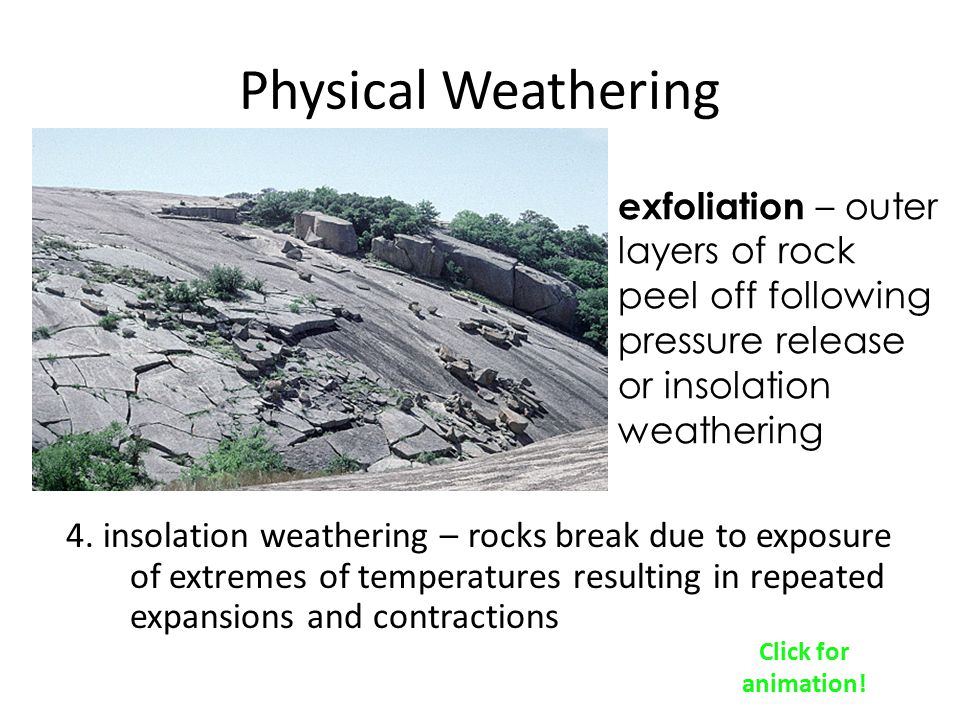 Physical Weathering exfoliation – outer layers of rock peel off following pressure release or insolation weathering.