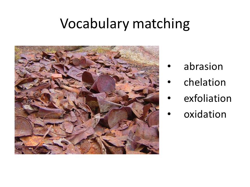 Vocabulary matching abrasion chelation exfoliation oxidation