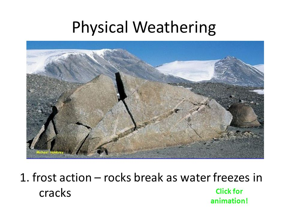 Physical Weathering 1. frost action – rocks break as water freezes in cracks Click for animation!