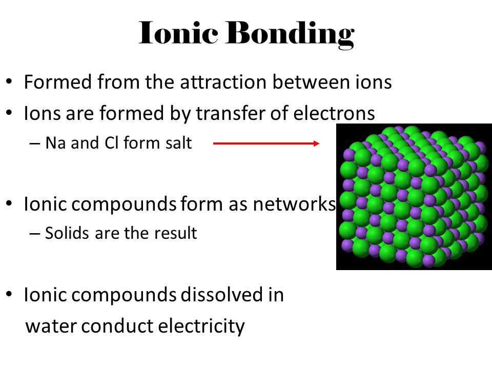 Ionic Bonding Formed from the attraction between ions
