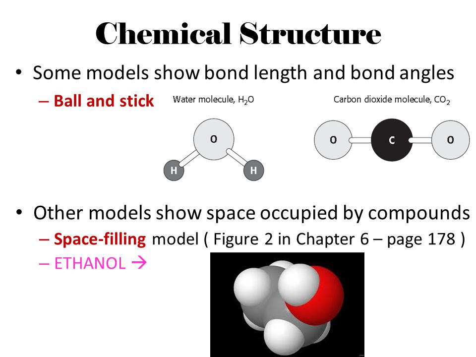 Chemical Structure Some models show bond length and bond angles