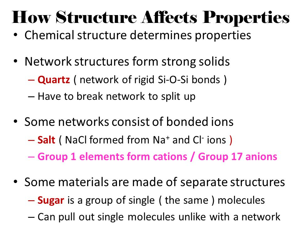 How Structure Affects Properties