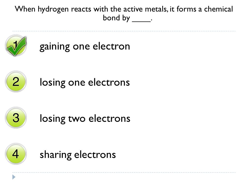 gaining one electron losing one electrons losing two electrons