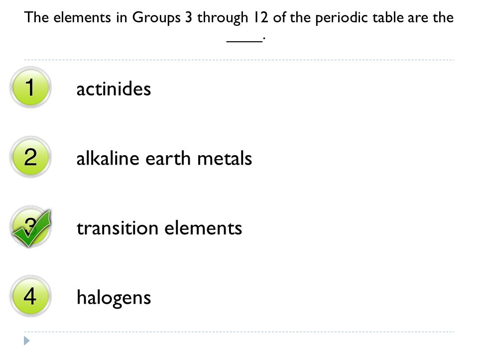 actinides alkaline earth metals transition elements halogens