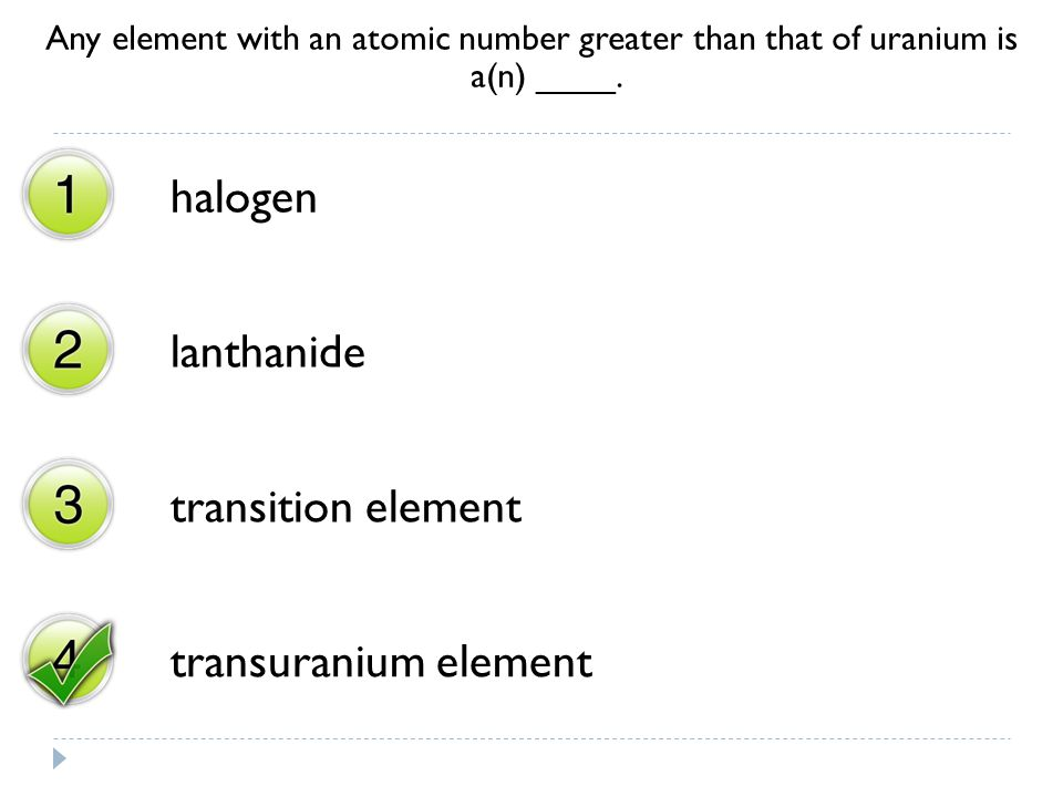 halogen lanthanide transition element transuranium element