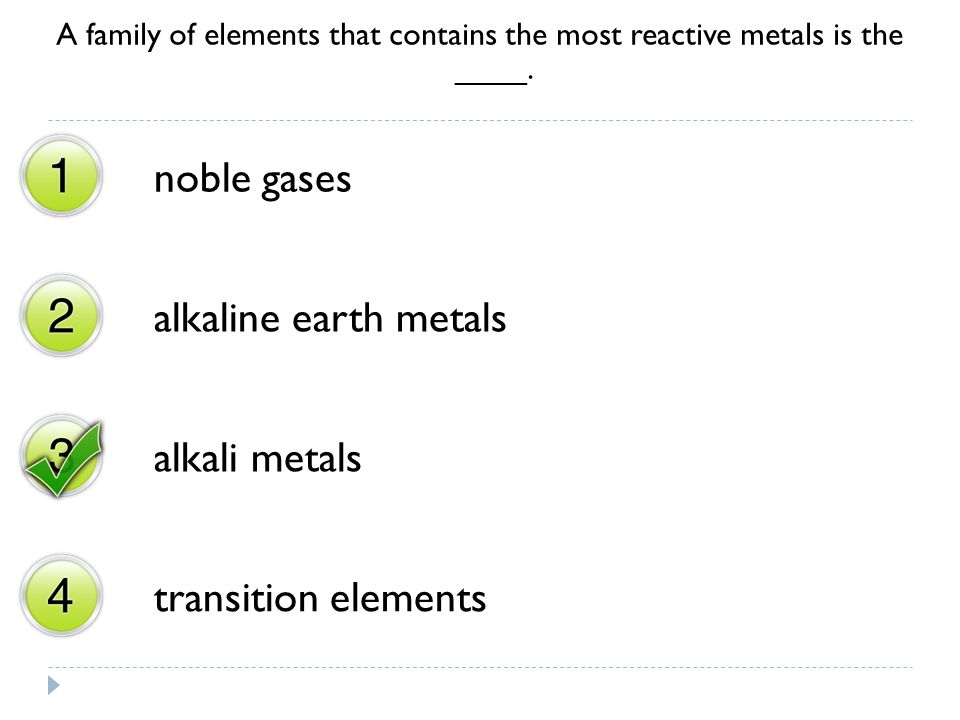 noble gases alkaline earth metals alkali metals transition elements