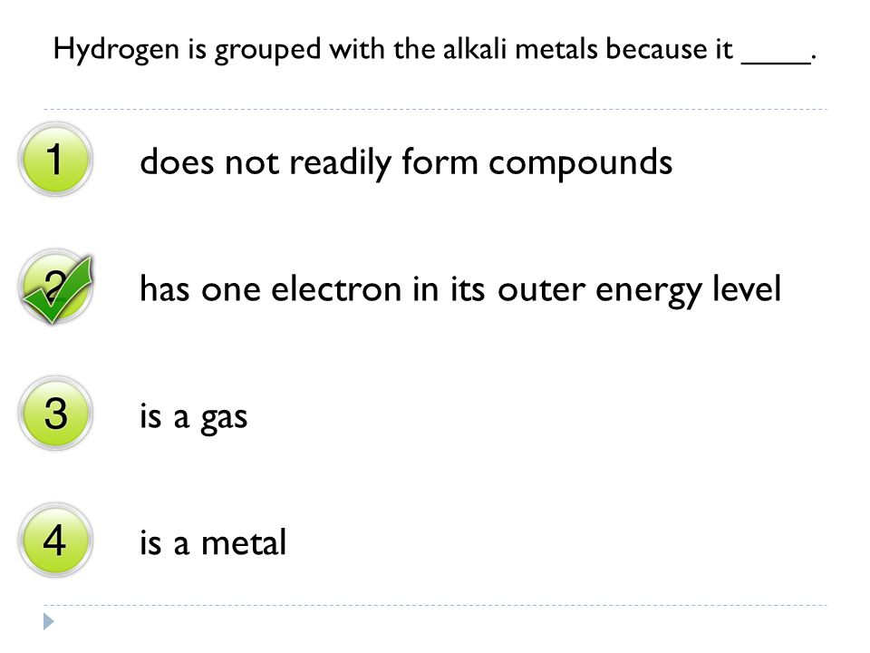 Hydrogen is grouped with the alkali metals because it ____.