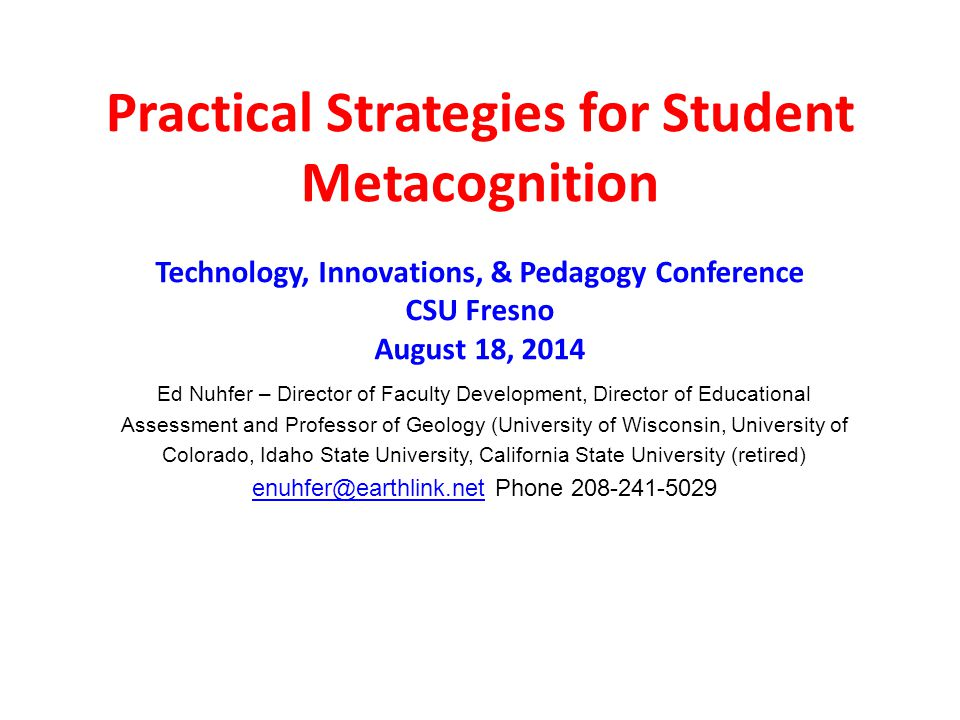 Practical Strategies for Student Metacognition