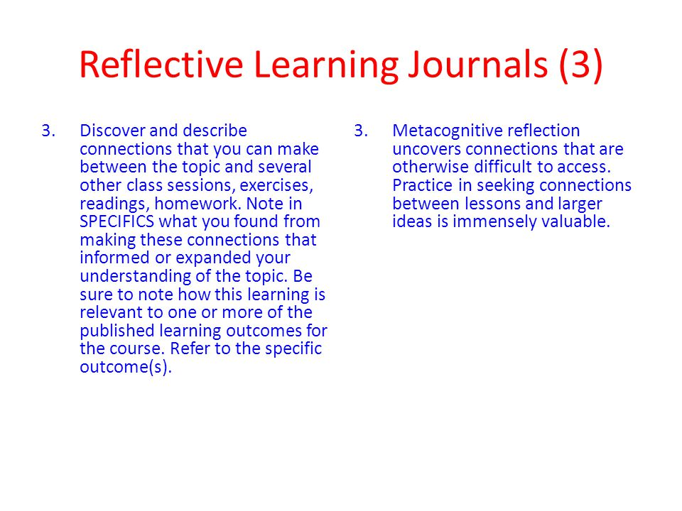 Reflective Learning Journals (3)