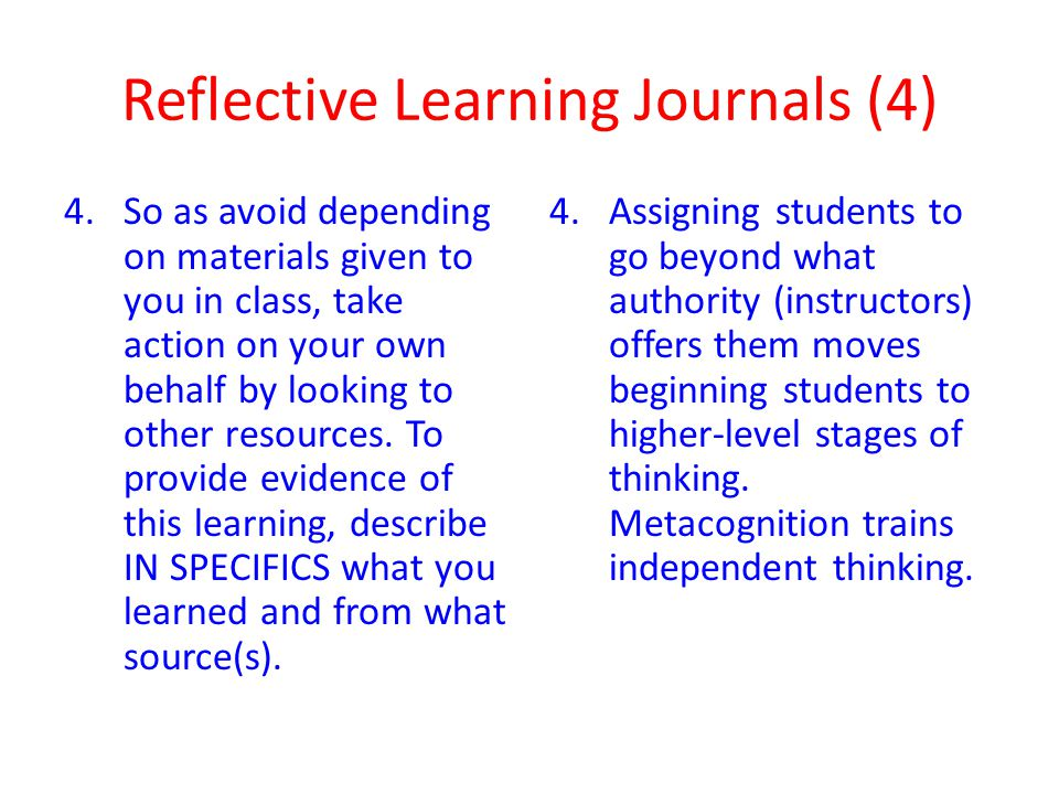 Reflective Learning Journals (4)