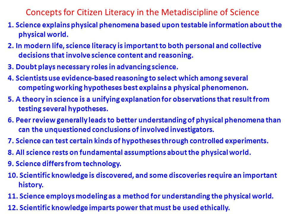 Concepts for Citizen Literacy in the Metadiscipline of Science