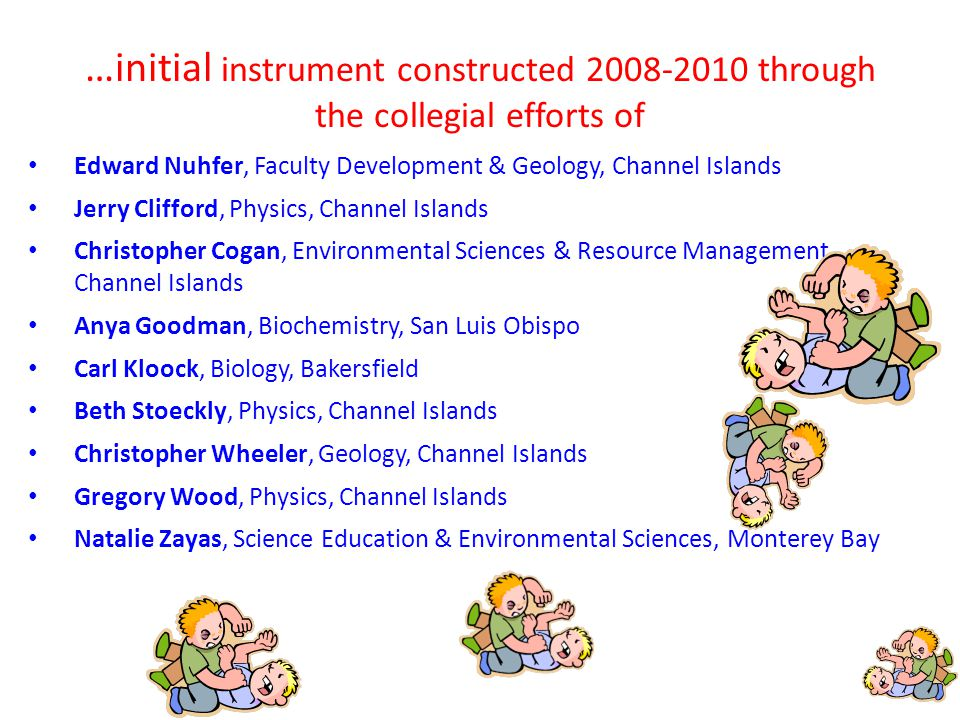 …initial instrument constructed 2008-2010 through the collegial efforts of