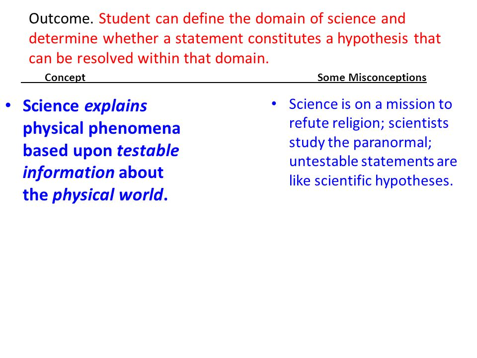 Outcome. Student can define the domain of science and determine whether a statement constitutes a hypothesis that can be resolved within that domain.
