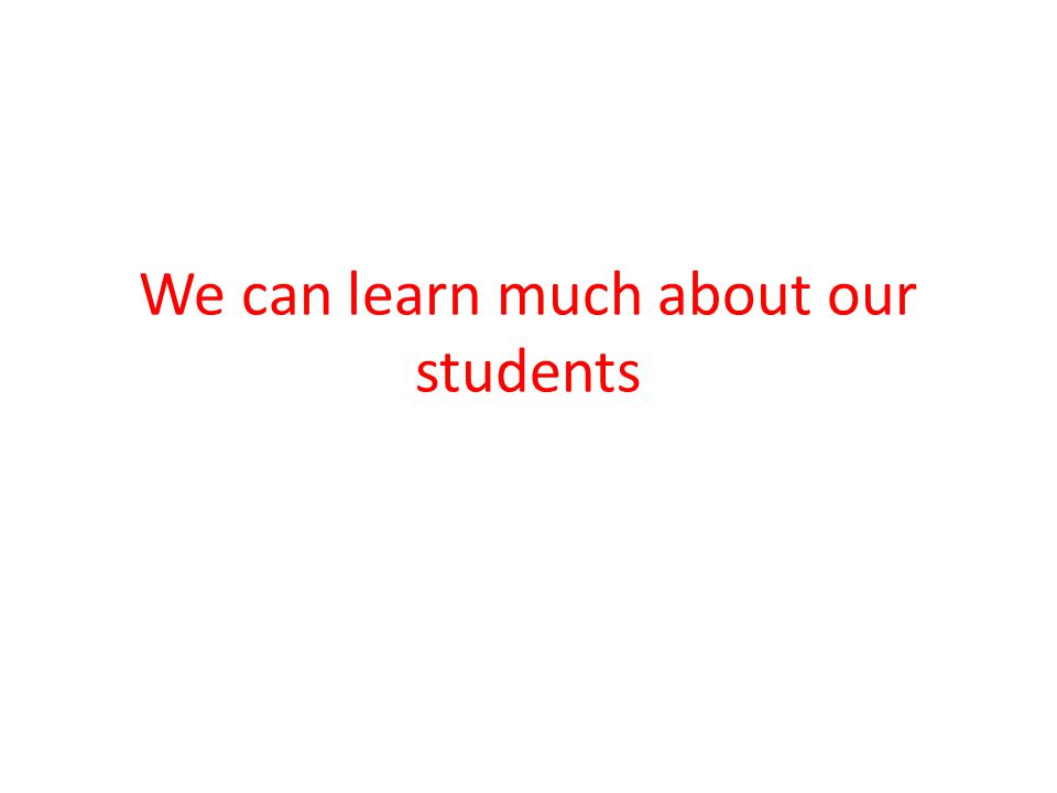 We can learn much about our students