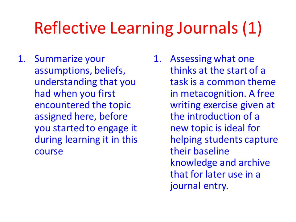 Reflective Learning Journals (1)