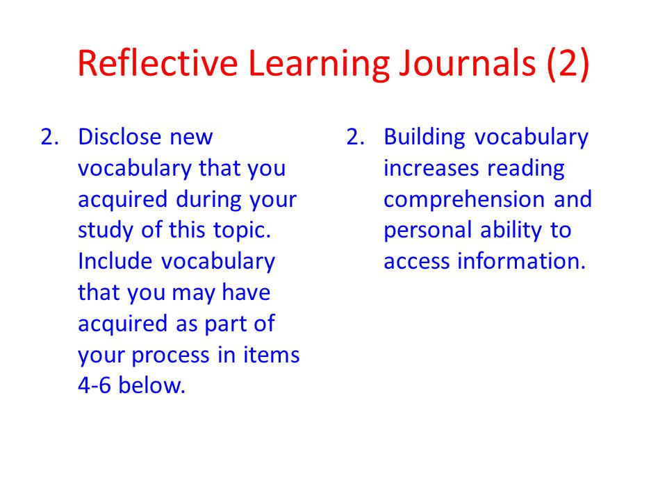 Reflective Learning Journals (2)