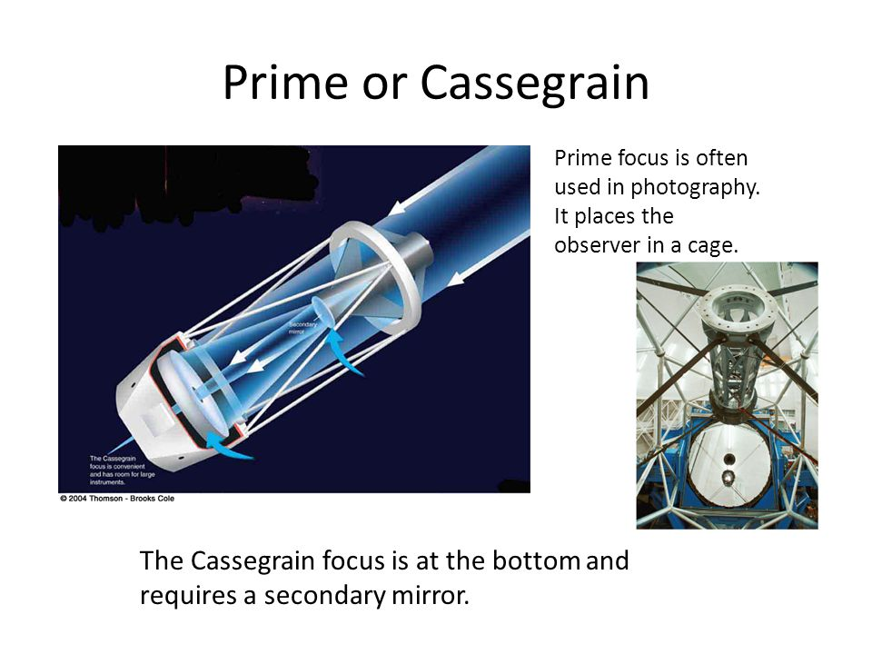 Prime or Cassegrain Prime focus is often used in photography. It places the observer in a cage.