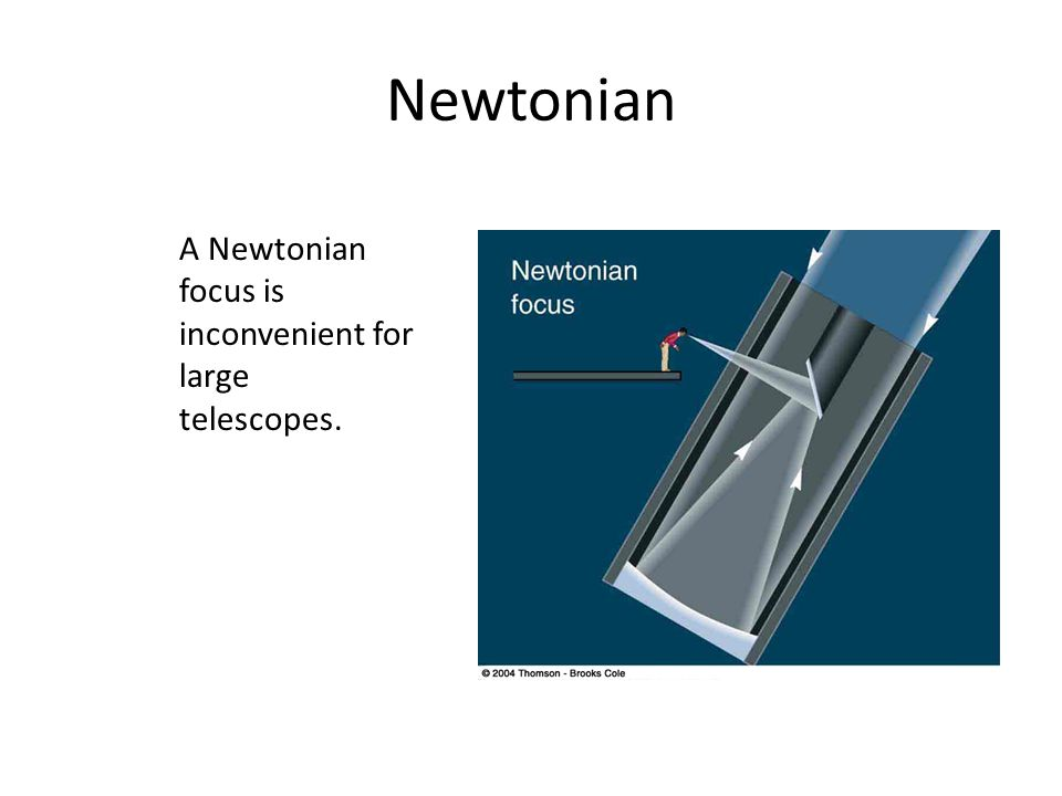 Newtonian A Newtonian focus is inconvenient for large telescopes.