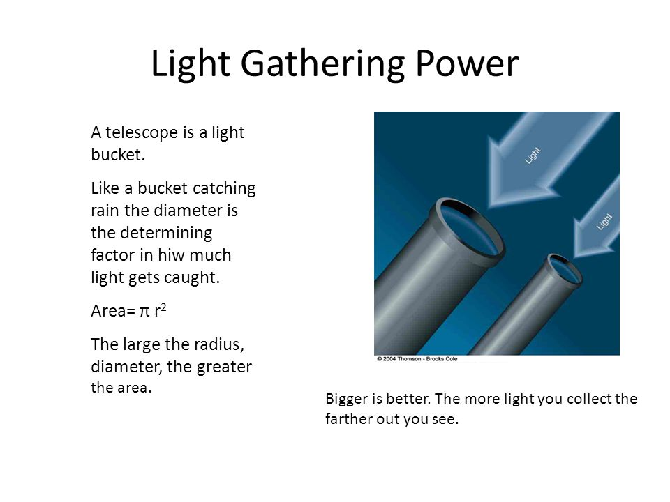 Light Gathering Power A telescope is a light bucket.