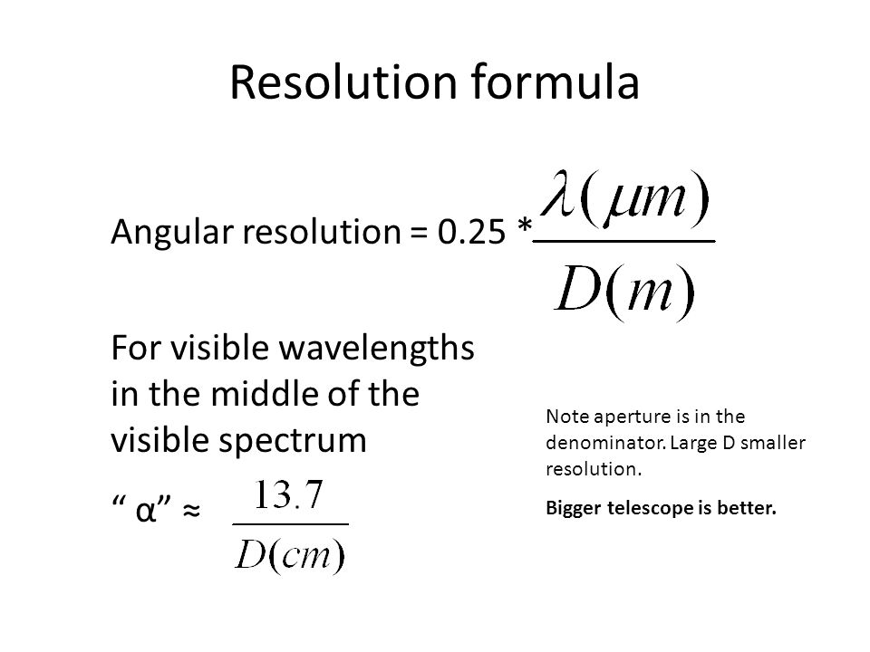 Resolution formula Angular resolution = 0.25 *