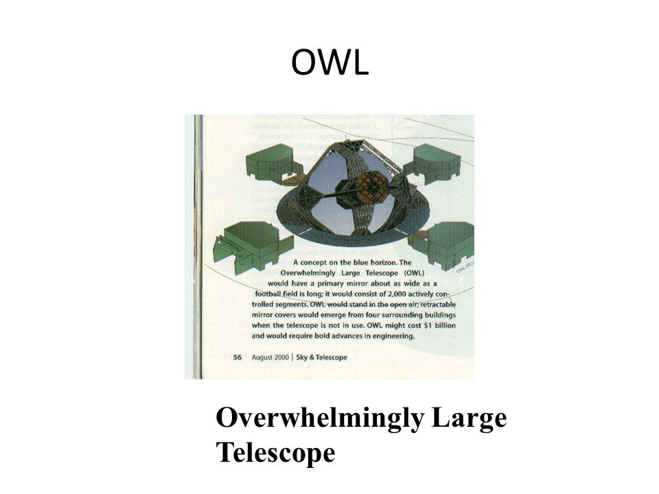 OWL Overwhelmingly Large Telescope