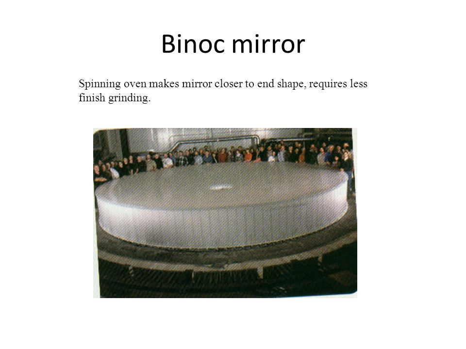 Binoc mirror Spinning oven makes mirror closer to end shape, requires less finish grinding.