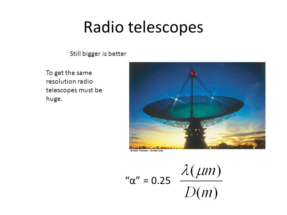 Radio telescopes α = 0.25 Still bigger is better