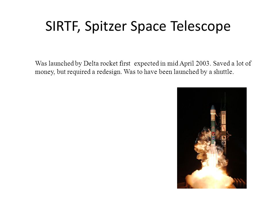 SIRTF, Spitzer Space Telescope