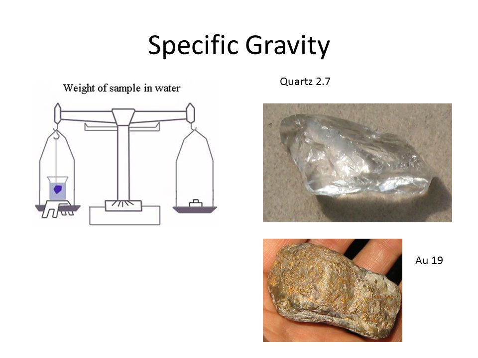 Specific Gravity Quartz 2.7 Au 19