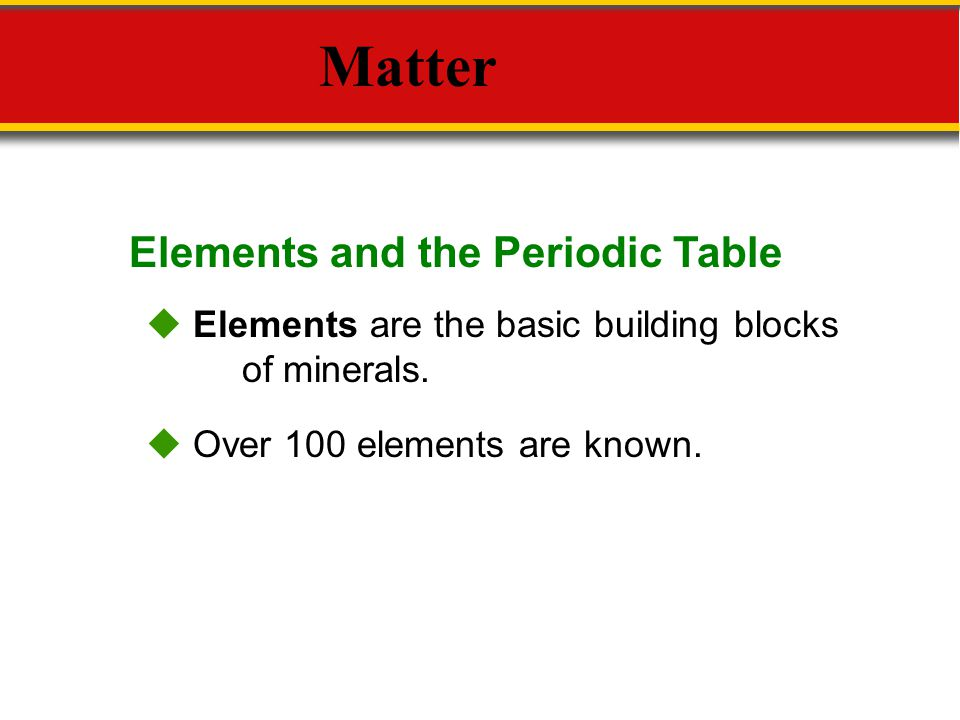 Matter Elements and the Periodic Table