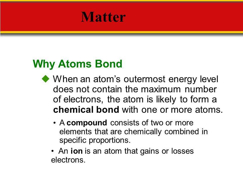 Why Atoms Bond Matter.