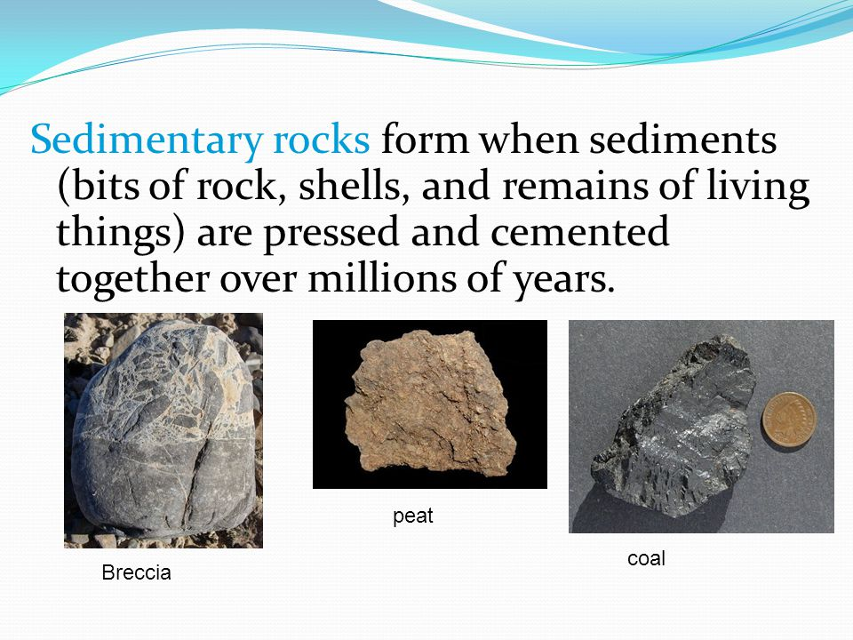 Sedimentary rocks form when sediments (bits of rock, shells, and remains of living things) are pressed and cemented together over millions of years.
