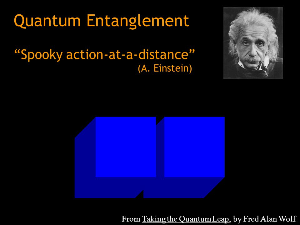 Quantum Entanglement Spooky action-at-a-distance (A. Einstein)