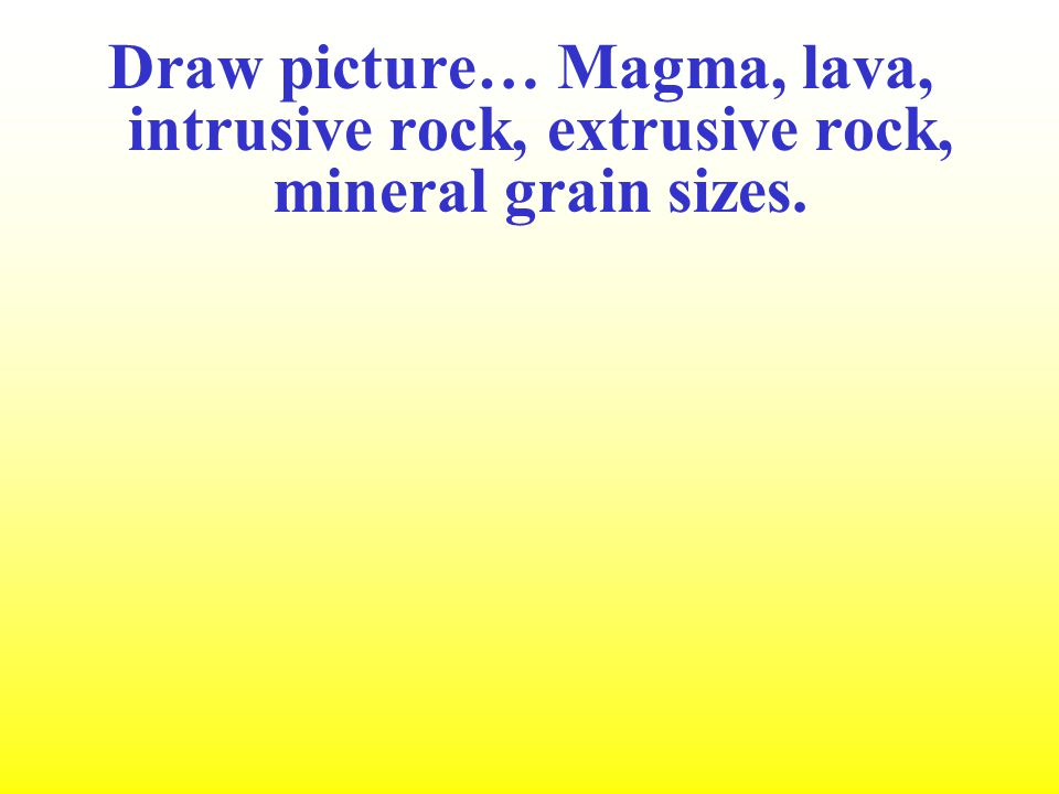 Draw picture… Magma, lava, intrusive rock, extrusive rock, mineral grain sizes.