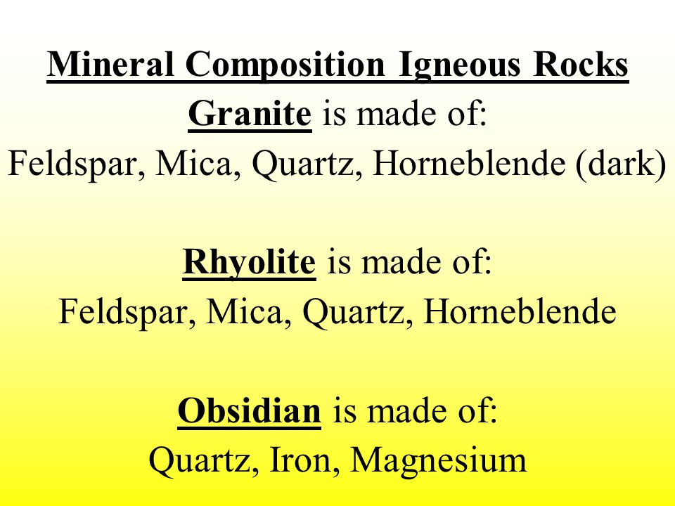 Mineral Composition Igneous Rocks