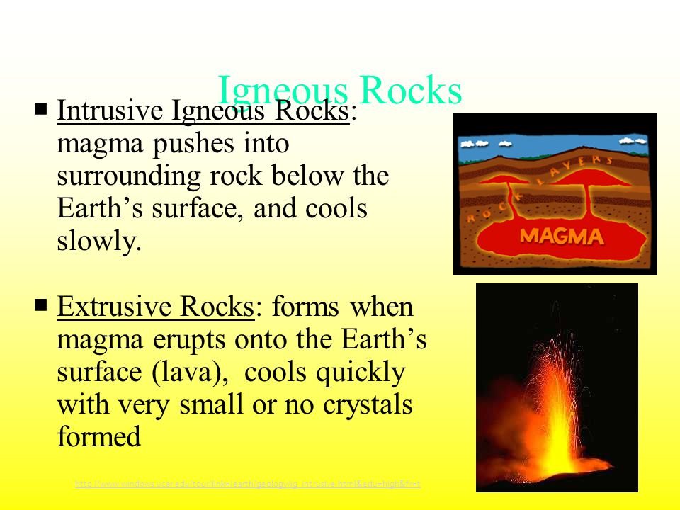 Igneous Rocks Intrusive Igneous Rocks: magma pushes into surrounding rock below the Earth's surface, and cools slowly.