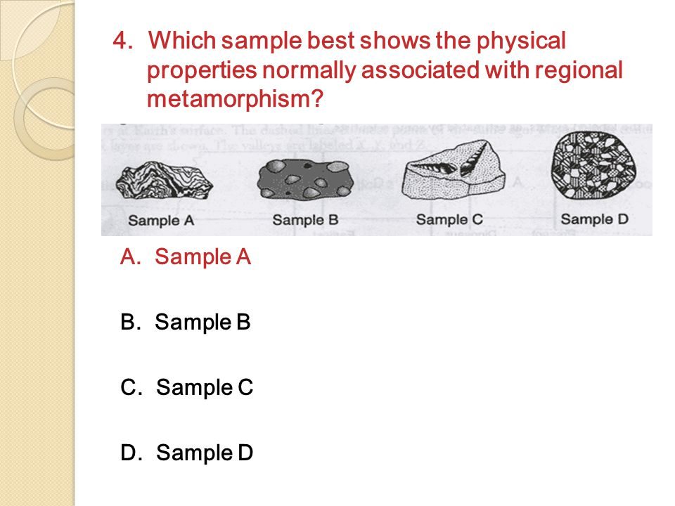 4. Which sample best shows the physical properties normally associated with regional metamorphism