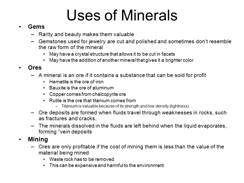 Uses of Minerals Gems Ores Mining